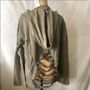 Oversized Olive green distressed hoodie